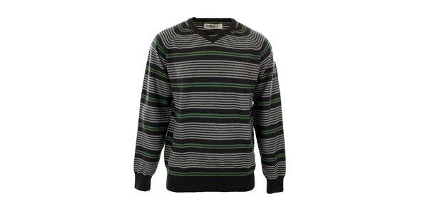 Pánsky šedý sveter so zeleným prúžkom Big Star