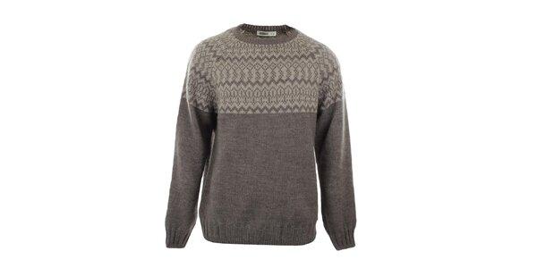Pánsky béžový sveter so vzorom Big Star