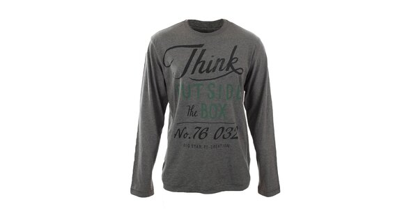 Pánske šedé tričko s nápisom Big Star