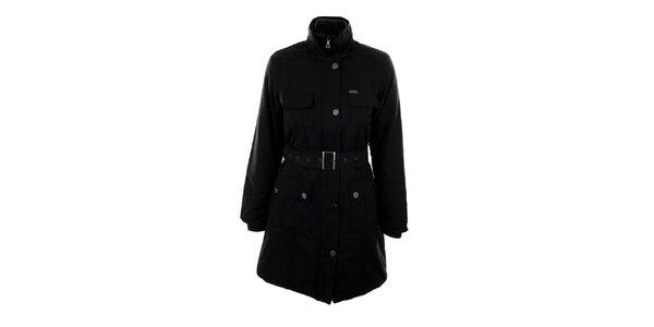 Dámsky čierny kabát s opaskom Big Star