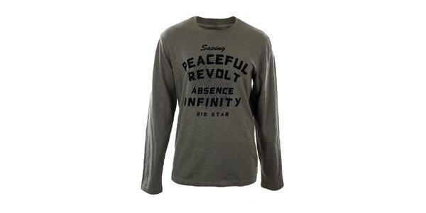 Pánske melírované tričko s dlhým rukávom a potlačou Big Star