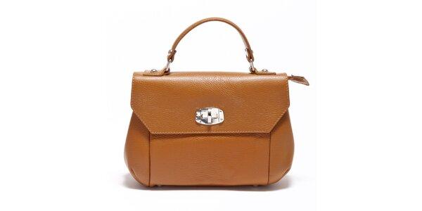 Dámska koňaková kabelka s odopínateľným popruhom Carla Ferreri