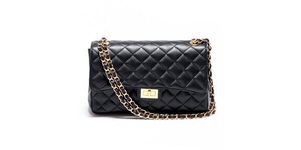 Dámska čierna prešívaná kabelka s retiazkou Carla Ferreri