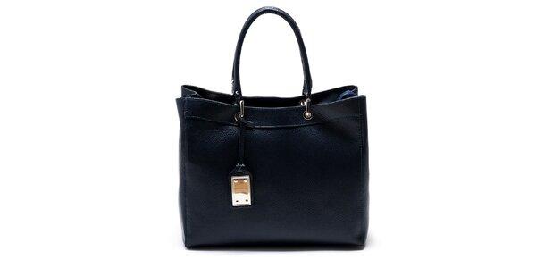 Dámska modrá kožená kabelka Carla Ferreri