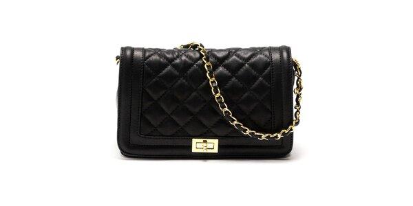 Dámska čierna kabelka s retiazkovým popruhom Carla Ferreri