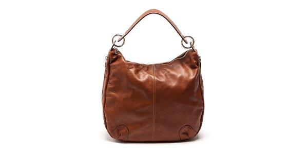 Dámska koňaková priestranná kožená kabelka Carla Ferreri
