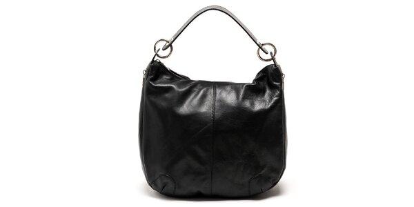 Dámska čierna lesklá kožená kabelka cez rameno Carla Ferreri