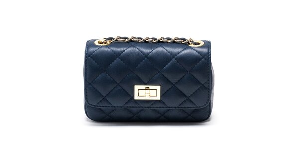 Dámska malá modrá prešívaná kabelka Carla Ferreri