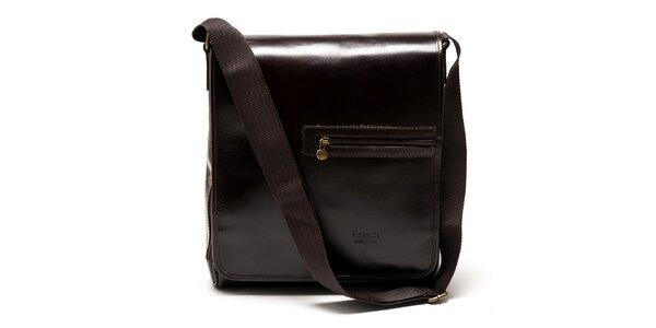 Dámska hnedá lesklá kožená kabelka cez rameno Carla Ferreri