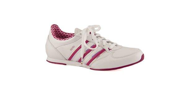Dámske biele kožené tenisky Adidas s ružovými prúžkami