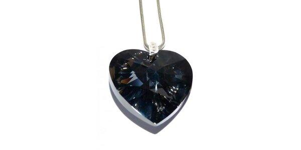 Dámsky strieborný náhrdelník Swarovski s čiernym srdcom