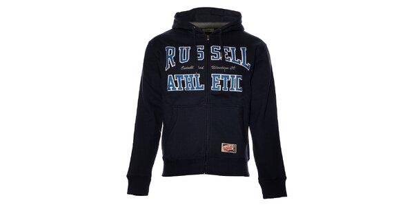 Pánska tmavo modrá mikina Russell Athletic s kapucou