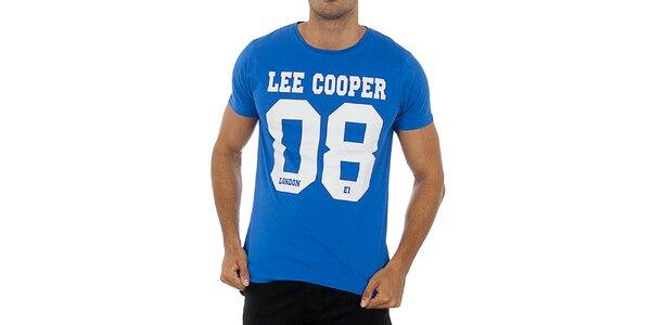 Pánske nebesky modré tričko s potlačou Lee Cooper