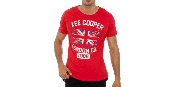 Pánske červené tričko s potlačou Lee Cooper