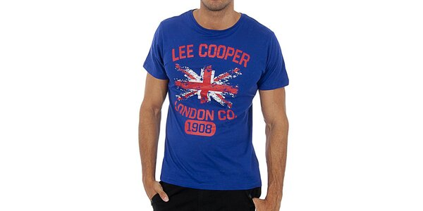 Pánske modré tričko s potlačou Lee Cooper