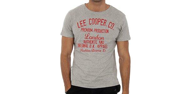 Pánske šedé tričko s červeným nápisom Lee Cooper