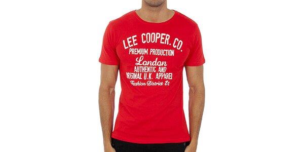 Pánske malinové tričko s bielou potlačou Lee Cooper
