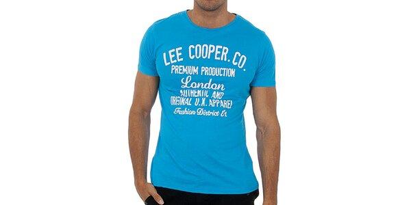 Pánske tyrkysové tričko s bielou potlačou Lee Cooper