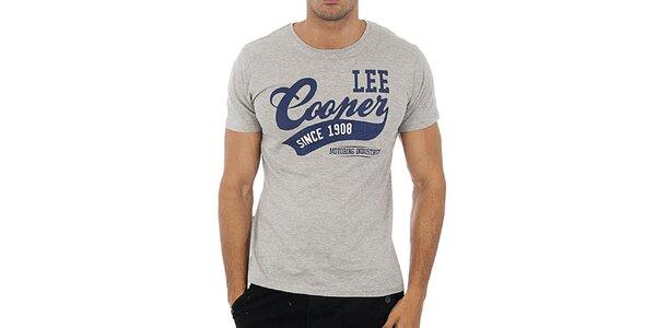 Pánske šedé tričko Lee Cooper