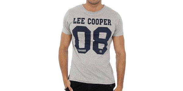 Pánske šedé tričko s potlačou Lee Cooper
