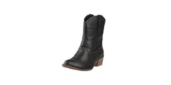 Dámske čierne kovbojské topánky s cvokmi Ana Lublin
