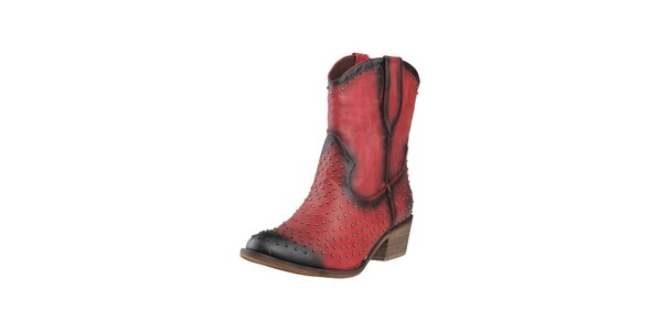 Dámske červené kovbojské topánky s cvokmi Ana Lublin