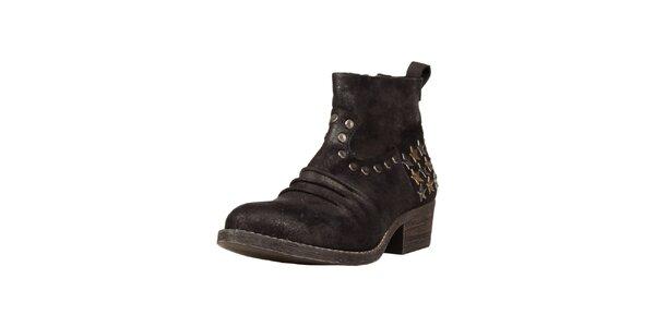 Dámske čierne členkové topánky s hviezdičkami Ana Lublin
