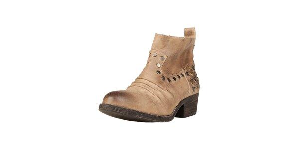 Dámske béžové členkové topánky s hviezdičkami Ana Lublin