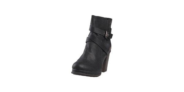 Dámske čierne členkové topánky s prackou Ana Lublin