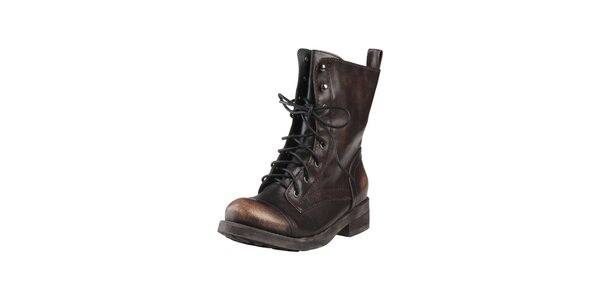 Dámske vysoké hnedé šnúrovacie topánky Ana Lublin