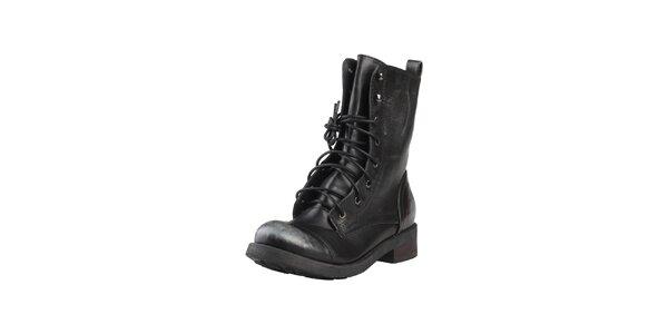 Dámske vysoké čierne šnúrovacie topánky Ana Lublin