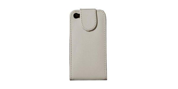 Biele kožené púzdro na iPhone 4/4S