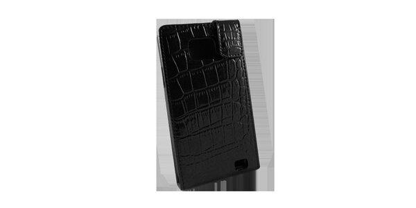 Čierne púzdro na Samsung i9100 Galaxy S2 v efekte ktokodýlej kože