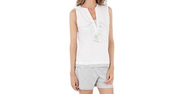 Dámsky bielošedý pyžamový set Isma