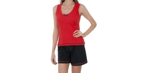 Dámske červeno-čierne pyžamo Admas - šortky a tielko