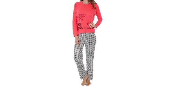 Dámsky pyžamový set, ružové tričko - kockované nohavice Cocodream