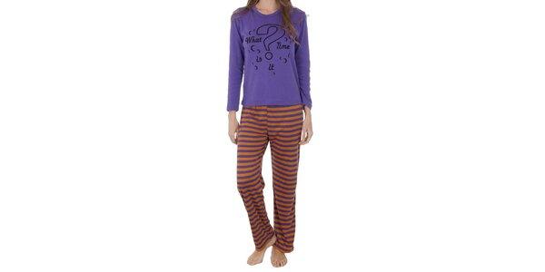Dámske fialovo-oranžové pyžamo Cocodream s potlačou - nohavice a tričko