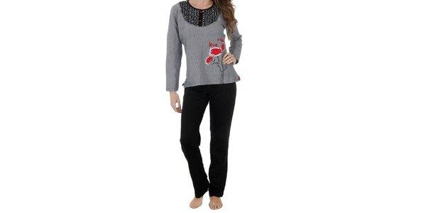 Dámske čierno-biele pyžamo Admas - nohavice a tričko
