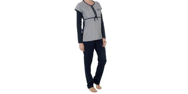 Dámske tmavo modré pruhované pyžamo Admas - nohavice a tričko