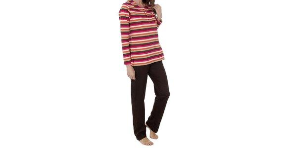 Dámske hnedo-ružové pruhované pyžamo Admas - nohavice a tričko