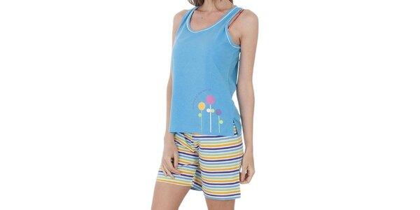 Dámske svetlo modré pyžamo Admas - šortky a tielko