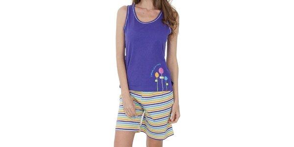 Dámske fialové pyžamo Cocodream - šortky a tielko