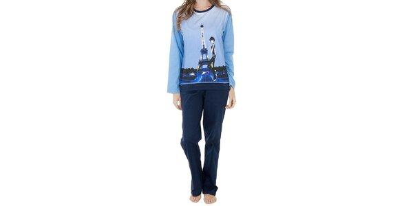 Dámsky modrý bavlnený pyžamový set Marie Claire