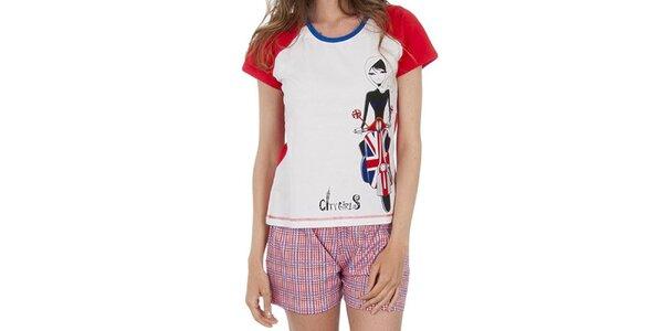 Dámsky pyžamový set, bieločervené tričko - kockované šortky Marie Claire