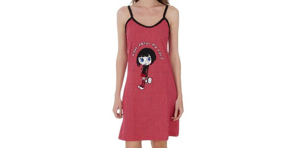 Dámska červená bodkovaná nočná košeľa Marie Claire s nášivkou