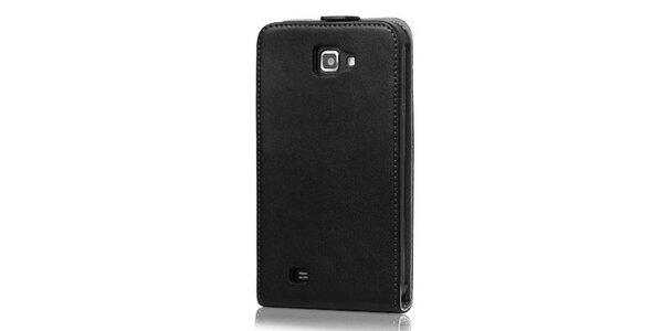 Luxusné čierne kožené púzdro na Samsung Galaxy Note i9220