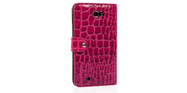 Luxusné ružové púzdro na Samsung Galaxy Note i9220 v efekte ktokodýlej kože