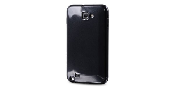 Lesklé čierne plastové púzdro na Samsung Galaxy Note i9220