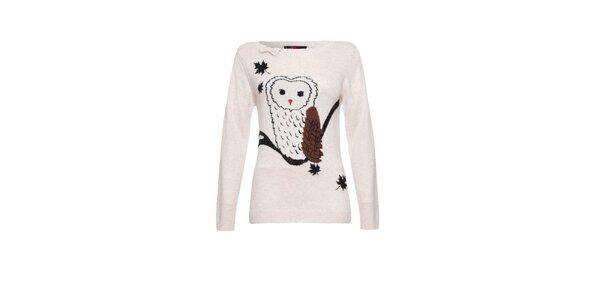 Dámsky krémový sveter so sovou Yumi