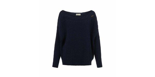 Dámsky tmavo modrý sveter s plastickým vzorom Yumi